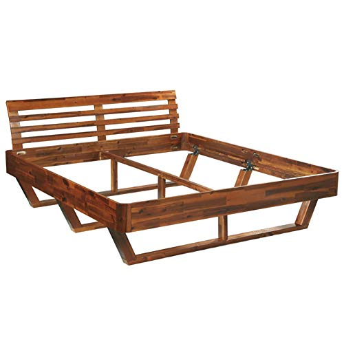 BIGTO Luxus Doppelbett Bettgestell Massiv Akazie Holz Bett 180x200 cm