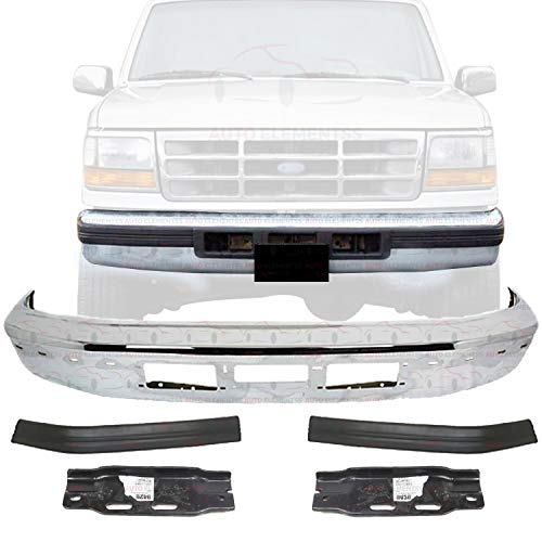 New Front Bumper Chrome With Molding And Air Holes For 1992-1997 Ford F-150 F-250 F-350 XL XLT Extended/Standard Cab Pickup Direct Replacement Molding Mounting Brackets LH & RH Side