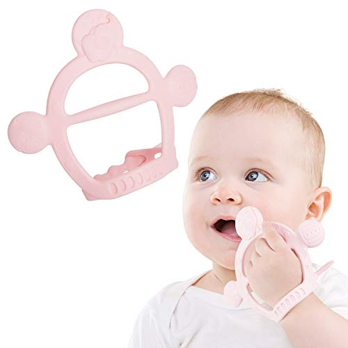 Baby Teething Toy Gifts【Never Drop from Hand】Food Grade Silicone BPA Free Teether Ring with Adjustable Wristband Sensory Chew Baby Teething Toys for Babies 3 4 5 6 7 8 9 10 11 12 Months