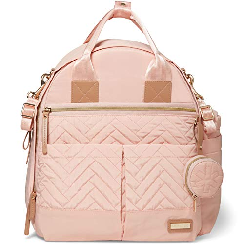 Skip Hop Diaper Bag Backpack: Suite 6-in-1 Diaper Backpack Set, Multi-Function Baby Travel Bag with Changing Pad, Stroller Straps, Bottle Bag and Pacifier Pocket, Blush