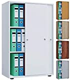 VCM Aktenregal Schrank Büromöbel Aktenschrank Büroregal Ordnerregal Lona 3-Fach Schiebetüren Kern-Nussbaum