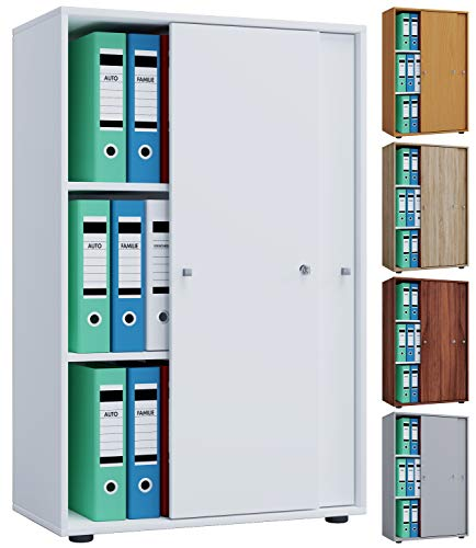 VCM Aktenregal Schrank Büromöbel Aktenschrank Büroregal Ordnerregal Lona 3-Fach Schiebetüren Weiß