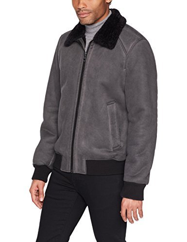 GUESS Men's Faux-Suede Bomber Jacket, Charcoal, Small