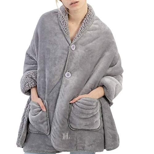 Happination Poncho Blanket for Girls and Women  No Sleeves  Cozy Warm Soft Wearable Blanket  Grey Sherpa Fleece Throw  Everyday Snuggle Wrap  Spring Days or Summer Nights Stay at Home Shawl