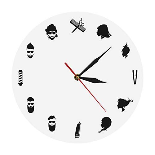 yage Peluquería Reloj de Pared Decorativo Equipos de Peluquero con peluquería Reloj de Pared Moderno Peluquería Belleza Peluquería Decoración Arte
