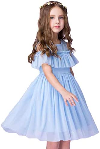 Flower Girl Dress Blue Tulle Wedding Party A line Kids Princess Off Shoulder Birthday Party product image
