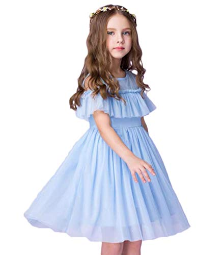 Flower Girl Dress Blue Tulle Wedding Party A line Kids Princess Off Shoulder Birthday Party Chiffon Beach Cool Dress 1-12Y