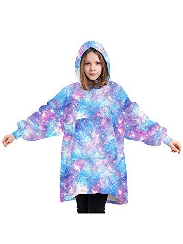 7-13 lat Kid Wearable Blanket Hoodie dla Girl Boy Oversized Double Fleece Plusz Cartoon Hooded Top z ciepłą kieszenią z przodu