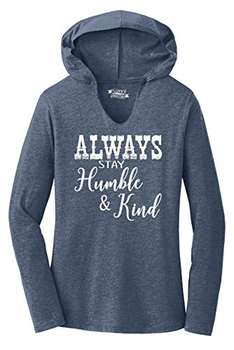 Ladies Hoodie Shirt Always Stay Humble & Kind Country Music Song Navy Frost XL