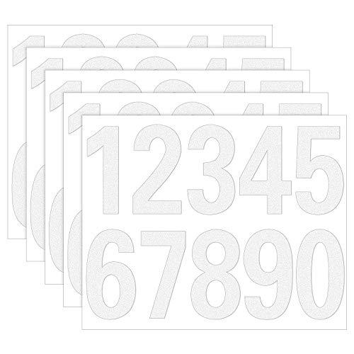 Meetory 50 pegatinas reflectantes de números de buzón de correo, vinilo autoadhesivo, impermeable, números del 0 al 9, para buzón, carteles, ventana, puerta, coche, hogar, negocios (blanco, 7,6 cm)