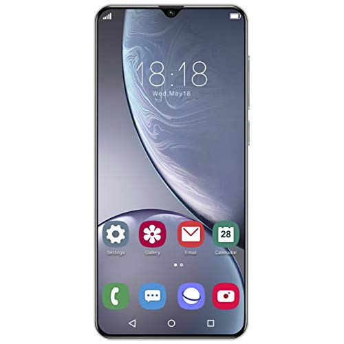 Smartphone, teléfono móvil con reconocimiento Facial de Huellas Dactilares de 6.26 Pulgadas, teléfono móvil con Doble Modo de Espera Note20Ultra, para Android 5.1, Blanco 100‑240V 1 + 32G(EU)