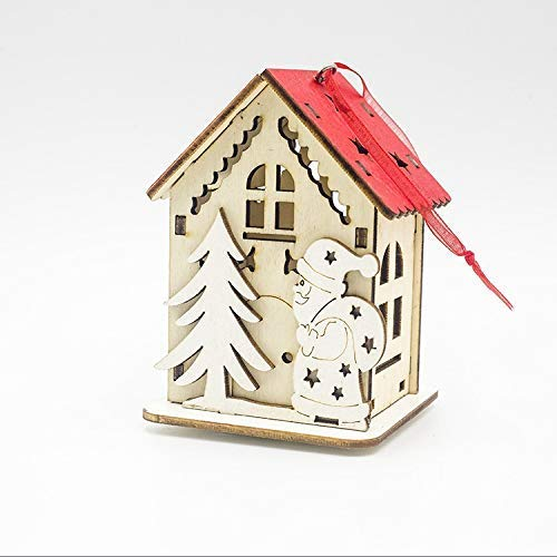 SDJ kerstboom met verlichting en decoratieve ornamenten creatieve geschenken klein blokhuis kerstversiering voor kinderen vier sets
