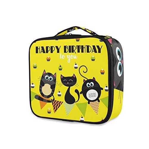 Doshine Grande trousse de maquillage avec compartiments ajustables Motif Happy Birthday Chouette oiseau chat Organiseur Portable Cosmétique Sac de rangement professionnel multifonction
