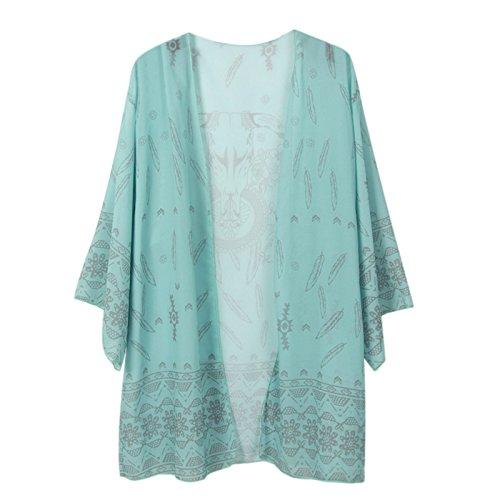 Beauty7 - Räumungsausverkauf - Kimono Stil Damen Chiffon Übergroß Strandponcho Sommer Überwurf Kaftan Strandkleid Bikini Cover Up Bikini-Abdeckung Größe: EU 36-50 Farbe: Grün