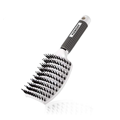 FIXBODY Boar Bristle Hair Brush - Curved & Vented & Oversize Design Detangling Hair Brush for Women Long, Thick, Curly and Tangled Hair Blow Drying Brush(White)