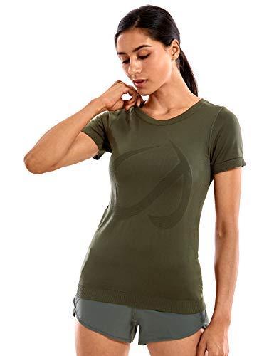 CRZ YOGA Mujer Ropa Deportiva Sports Casuales Camiseta Malla sin Costura Manga Corta Dark Olive 38
