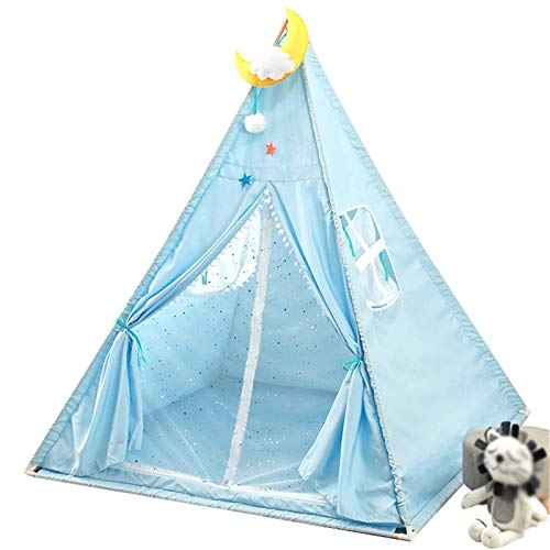 GJQDDP Tent for Kids, Foldable Children Play Tent Blue Camping Tent Installation Tent - Solid Wood Bracket - Pink Indian Teepee - 120 * 120 * 140CM Kids Teepee,Blue