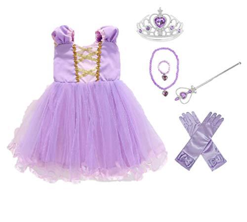 Elmia ワンピース コスチューム キッズ ドレス なりきり プリンセス 衣装 ハロウィン クリスマス プレゼント アクセサリー 5点セット 付 ( ティアラ スティック ブレスレッド ネックレス 手袋 ) 110