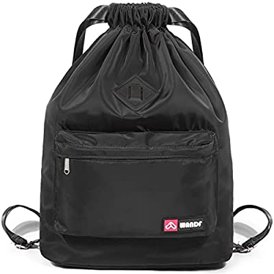 WANDF Drawstring Backpack with Shoe Pocket, String Bag Sackpack Cinch Water Resistant Nylon for Gym Shopping Sport Yoga (Black with shoe pocket)