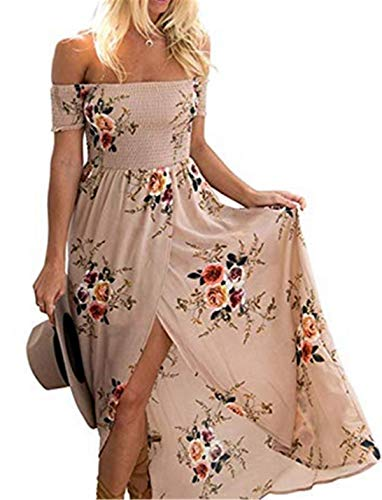 GREMMI Sommerkleider Damen Blumen Maxi Kleid Schulterfreies Abendkleid Strandkleid Party Schulter Kleider Chiffon Kleid- Gr. 38(M) ,Khaki