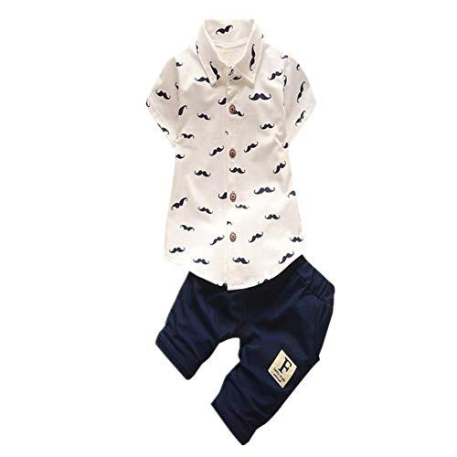 Xmiral Baby Jungen Bedrucktes Knopf T-Shirt + Elastische Taillen Shorts Outfits Kleinkind Kinder Kleidung Set Umlegekragen Hemd Freizeithose(Weiß,6-12 Monate)