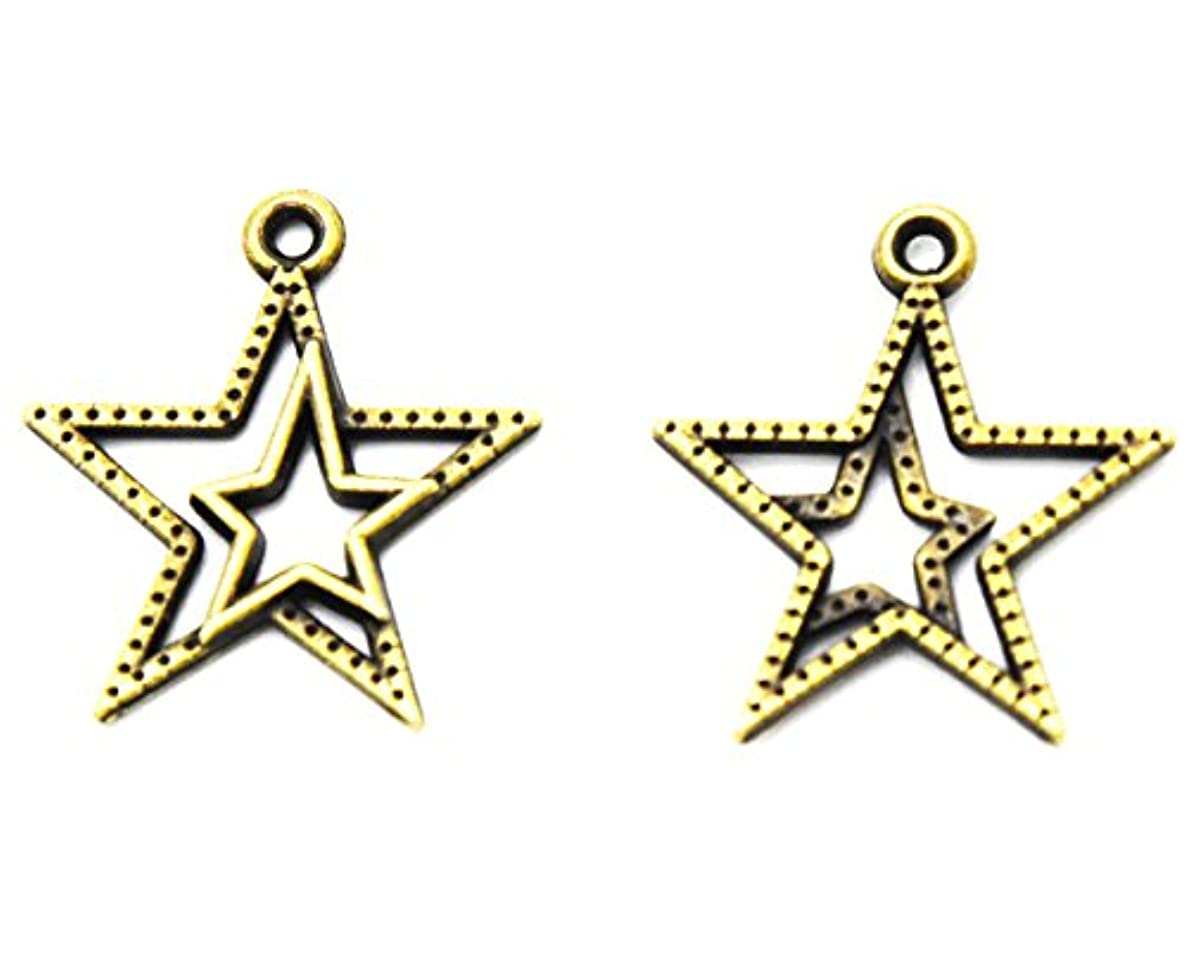 Youkwer 100Pcs 21mm x23mm Vintage Metal Alloy Double Star Sign Christmas Charms Beads Pendants for DIY Crafting and Earring Necklace Bracelet Jewelry Making Findings Accessories(Antique Bronze)