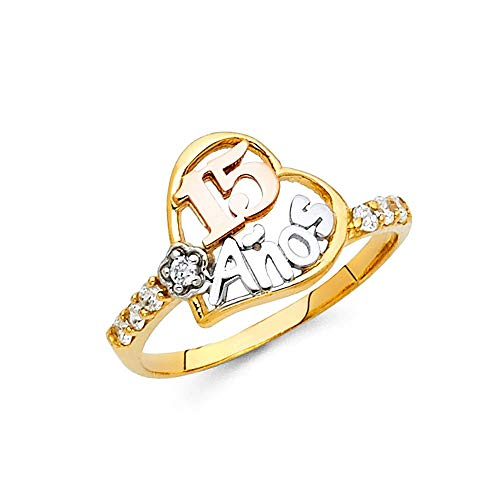 Anillo de oro de 14 quilates de quinceañera dulce 15 años de circonita cúbica con diamante de imitación, tamaño N 1/2, joyería de regalo para mujeres