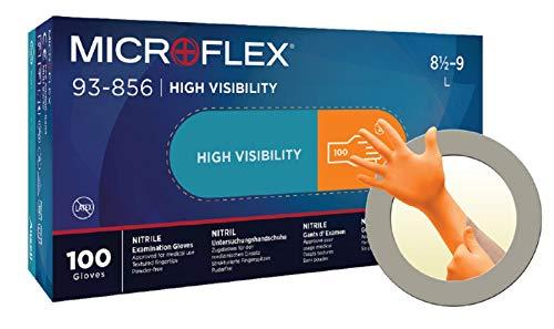 Ansell Microflex 93-856 Mehrzweckhandschuhe, Chemikalien- und Flüssigkeitsschutz, Schutz bei Mechanik-, Industriel- und Chemikalienarbeiten, Orang, Größe XXL (100 Handschuhe)