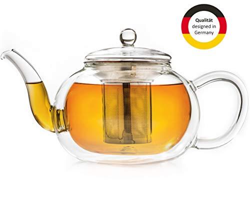 Creano doppelwandige Glas-Teekanne 1,2l mit Edelstahlfilter - tropffrei