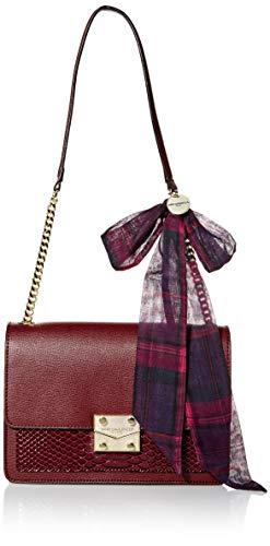 Karl Lagerfeld Paris Damen Corinne Snake Shoulder Bag Umhängetasche, Merlot, Einheitsgröße