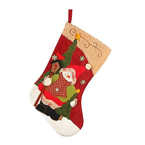 Burlap Santa Snowman Christmas Decoration Socks Calze per i Regali di Natale