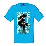 lepni.me Camisetas Hombre Eat-Sleep-Skate-Repeat para el Amante del monopatín, Regalos del Skater, Ropa Que anda en monopatín (X-Large Azul Multicolor)