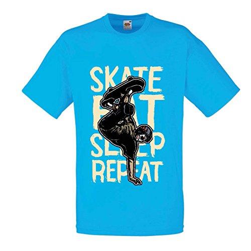 lepni.me Camisetas Hombre Eat-Sleep-Skate-Repeat para el Amante del monopatín, Regalos del Skater, Ropa Que anda en monopatín (Large Azul Multicolor)