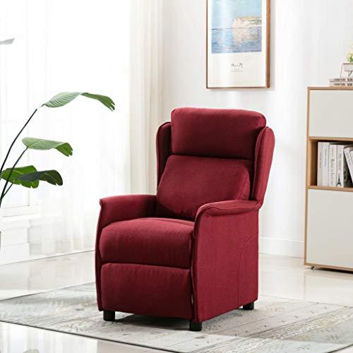 UnfadeMemory Push Back Massagesessel Stoff Fernsehsessel Verstellbare TV-Sessel Relaxsessel Entspannungssessel mit Massage und Heizung Funktion 68x98x100 cm (Weinrot)