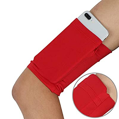 Armband Wristband for Cellphone Running - Phone Wrist Band Sleeve Arm Bag - Running Sports Arm Strap Wristband Holder Pouch Case for Exercise Workout Walk Yoga Hiking - L5.7'' X W5.0'' - 1PC Pure Red