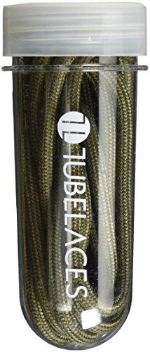Tubelaces Rope Solid Schnürsenkel, Grün (Olive) 121-130 cm, 5er Pack