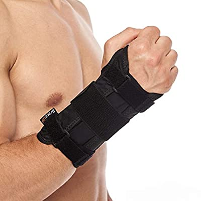 Carpal Tunnel Wrist Brace by BraceUP® with Metal Wrist Splint for Hand and Wrist Support and Tendonitis Arthritis Pain Relief - for Men and Women (S/M, Right Hand)