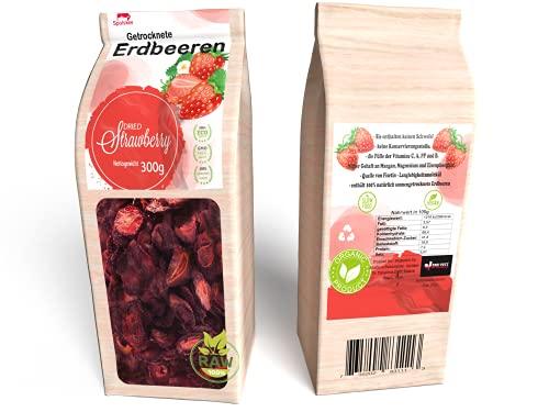 Erdbeeren Getrocknete-300g Natürliche Früchte Chips- Ohne Zucker- Sonnen-Getrocknet(Nicht Gefriergetrocknet)-Bio Vegan Snack Gut mit Müsli, Joghurt