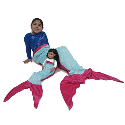 Mermaid Tail Blanket for Girls - Kids Fleece Blanket Made by Minky Plush - Includes a Free Newborn Blanket - Makes Great Gift for Ages (0 Months to 11 Years) (Turquoise / Pink)