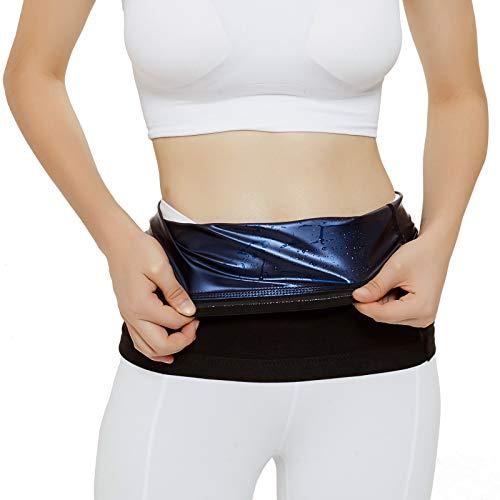 LUCKY CLOVER Waist Trimmer for Women: Sauna Sweat Belt Neoprene-Free Waist Cincher(X-Large) Black