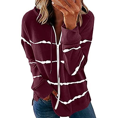 Junjie Elegantes Chaquetas Mujer con Capucha Cordón para Otoños y Inviernos Abrigos Manga Larga de Color Liso con Estampadas de Rayas Cardigan con Cremallera Suelto Casual