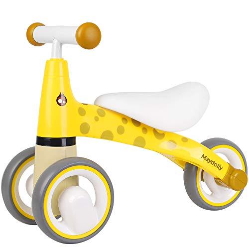 Maydolly Mini Balance Bike Baby First Bike Walker Ride On Toy 3 Wheel Bikes for Young Age 1-2 Years Old Toddler Girls Boys Kids Cute Giraffe Yellow