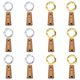 12 Pack 20 LED Wine Bottle Cork Lights, Fairy Mini String Lights Copper Wire, Battery Operated Starry Lights for DIY, Christmas, Halloween, Wedding, Party, Indoor&Outdoor (Multi White)