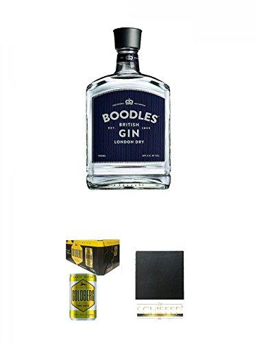 Boodles London Dry Gin Deutschland 0,7 Liter + Goldberg Tonic Water DOSE 8 x 0,15 Liter Karton + Schiefer Glasuntersetzer eckig ca. 9,5 cm Durchmesser
