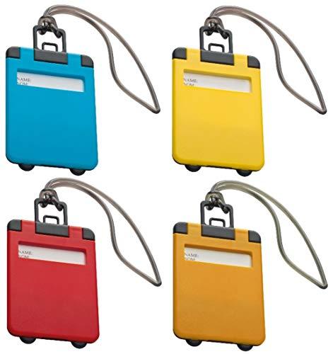 sin4sey 4er Set Kofferanhänger Gepäckanhänger Taschenanhänger (farbig Sortiert)