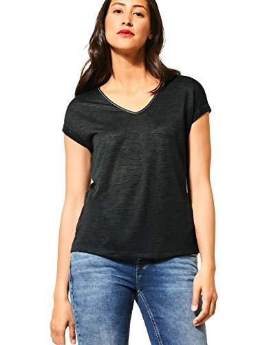 Street One Damen 315024 Linen Look T-Shirt, Comfort Green, 34