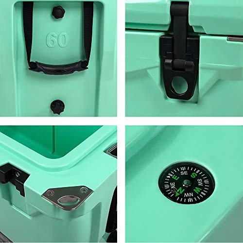 Xspec 60QT Quart Rotomolded High Performance Cooler, Seafoam, Pro Tough Outdoor Ice Chest, Durable Stylish Roto-Molded with Bottle Openers, with Vacuum Release Valve and Easy Snap Tight Latches