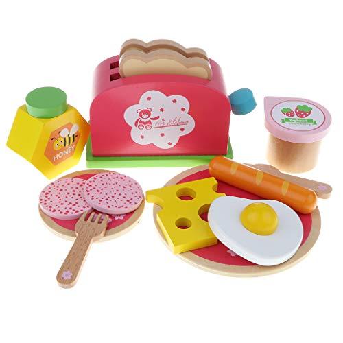B Blesiya Keukengerei speelgoed met levensmiddelen, van hout, voor kinderen