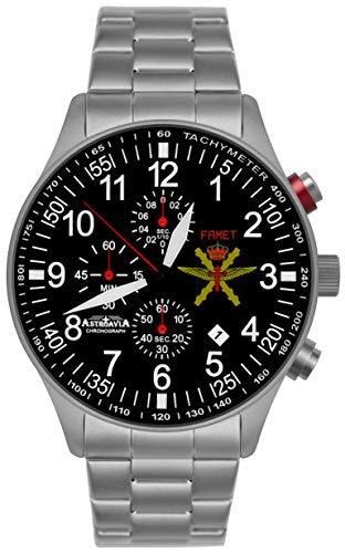 Astroavia Orologio da polso cronografo al quarzo, cinturino in acciaio inox massiccio, militare FN57