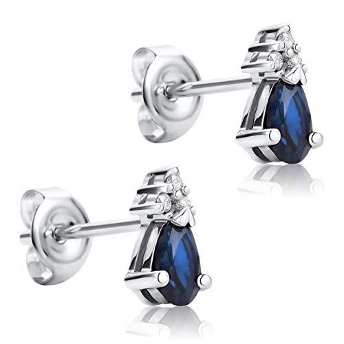 Orovi Pendientes Señora presión en Oro Blanco con Diamantes Talla Brillante y Zafiro azul Talla Pera 0.62 Ct Oro 9 Kt / 375